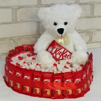 Букет з цукерок Серце ведмедик та рафаелло