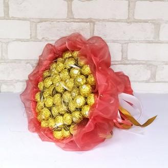 Букет из конфет Ферреро роше 45 коралловый