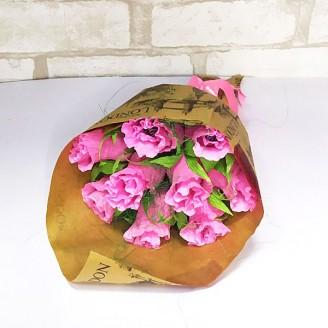 Букет из конфет Розы розовые 9 крафт