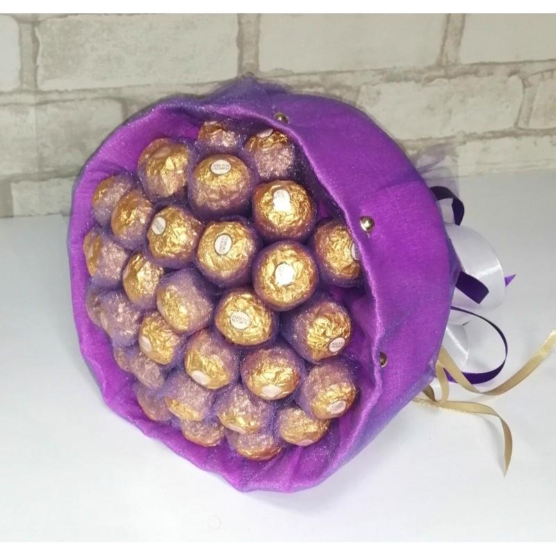 Букет з цукерок Ферреро роше 32 бузковий