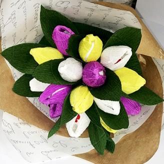 Букет из конфет Тюльпаны 15 Рафаэлло крафт