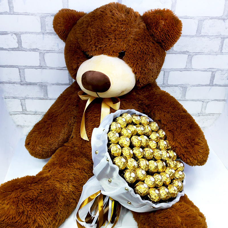 Подарунковий набір Ведмедик великий та ферреро роше 45