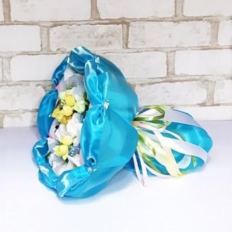 Букет из игрушек Котики с ферреро роше голубой