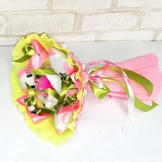 Букет з іграшок Котики 3 рожево-лаймовий