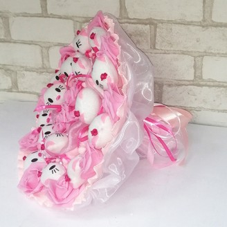 Букет з іграшок Котики 15 рожевий з трояндами