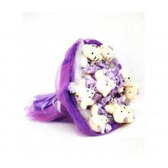 Букет из игрушек Мишки 9 в фиолетовых платьях