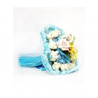Букет из игрушек Мишки 9 в небесно-голубом