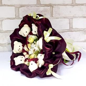 Букет из игрушек Мишки 7 бордовый