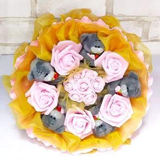 Букет из игрушек Мишки тедди 5 желто-розовый