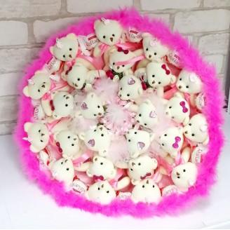 Букет из игрушек Мишки 23 рафаэлло розовый с пушком