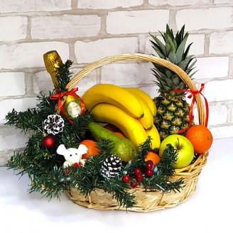 Подарочный набор Корзина фрукты и шампанское