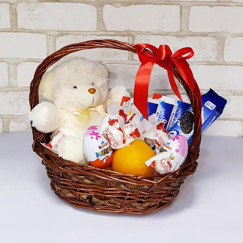 Подарочный набор Корзина темная Мишка и сладости
