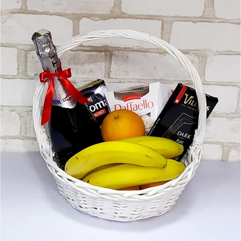 Подарочный набор Корзина Кофе, фрукты, асти