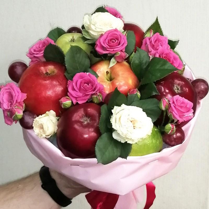 Подарунковий букет Фрукти та квіти