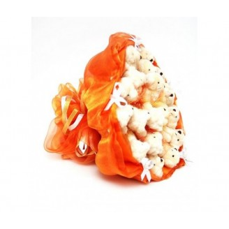 Букет из игрушек Мишки 23 бежевые в оранжевом