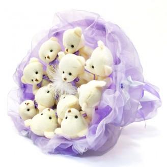 Букет из игрушек Мишки 11 лавандовый