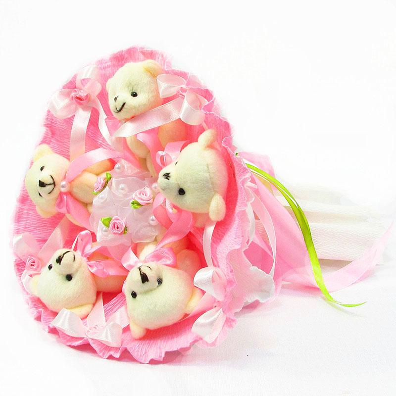 Букет из игрушек Мишки 5 розовый