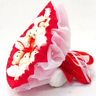 Букет из игрушек Мишки 9 красный