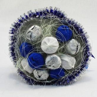 Букет из конфет 11 серебристо-синий
