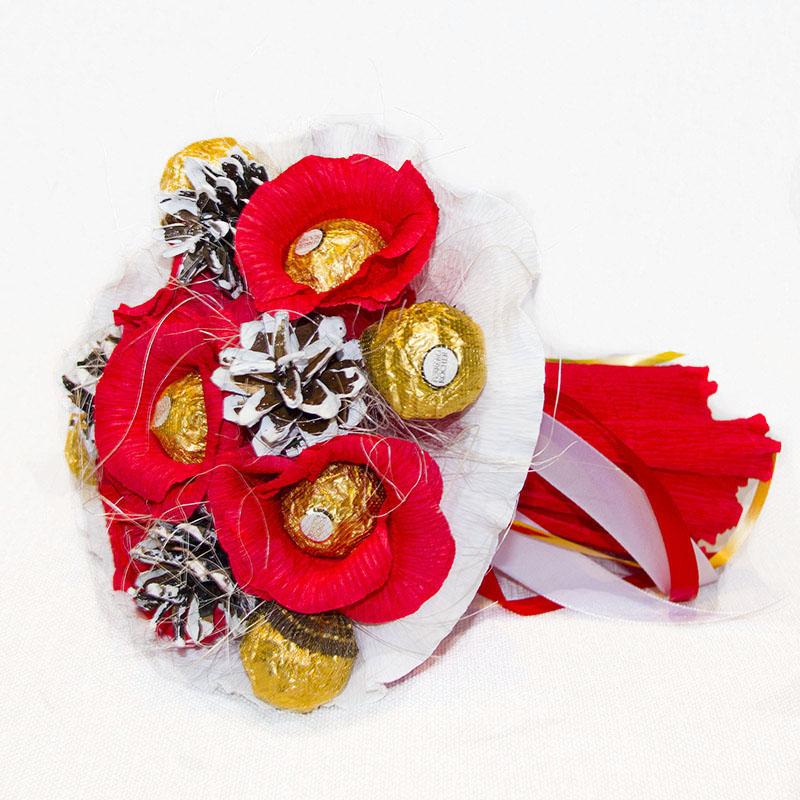Букет з цукерок Ферреро роше 9 зимовий червоний