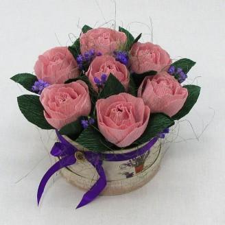 Букет из конфет Розы 7 в шляпной коробке