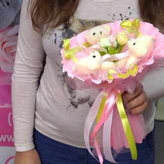 Букет из игрушек Мишки 3 розово-лаймовый