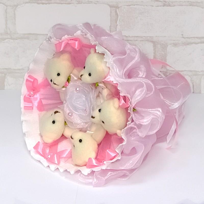 Букет из игрушек Мишки 5 нежно-розовый