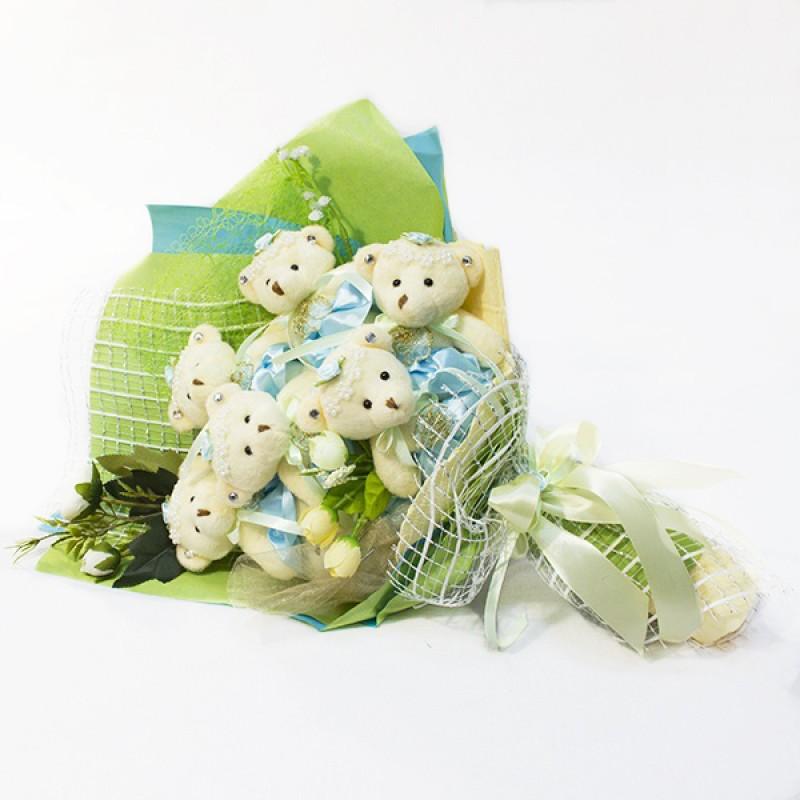 Букет из игрушек Мишки 7 конверт мятный
