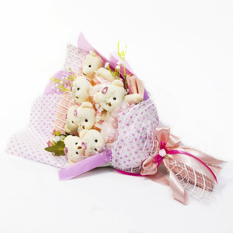 Букет из игрушек Мишки 7 конверт розовый