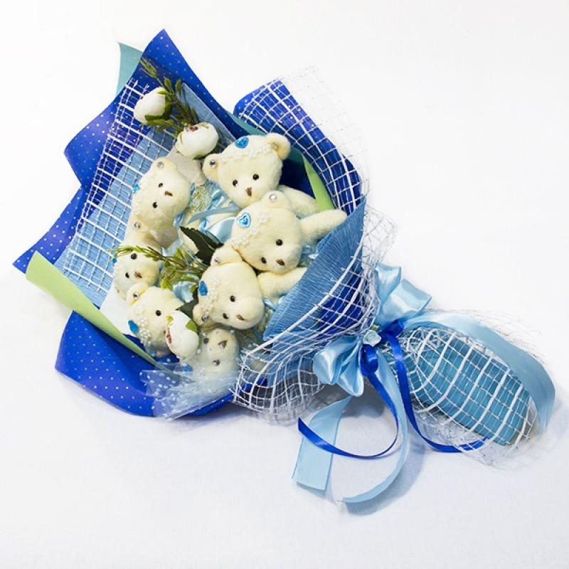 Букет из игрушек Мишки 7 конверт синий