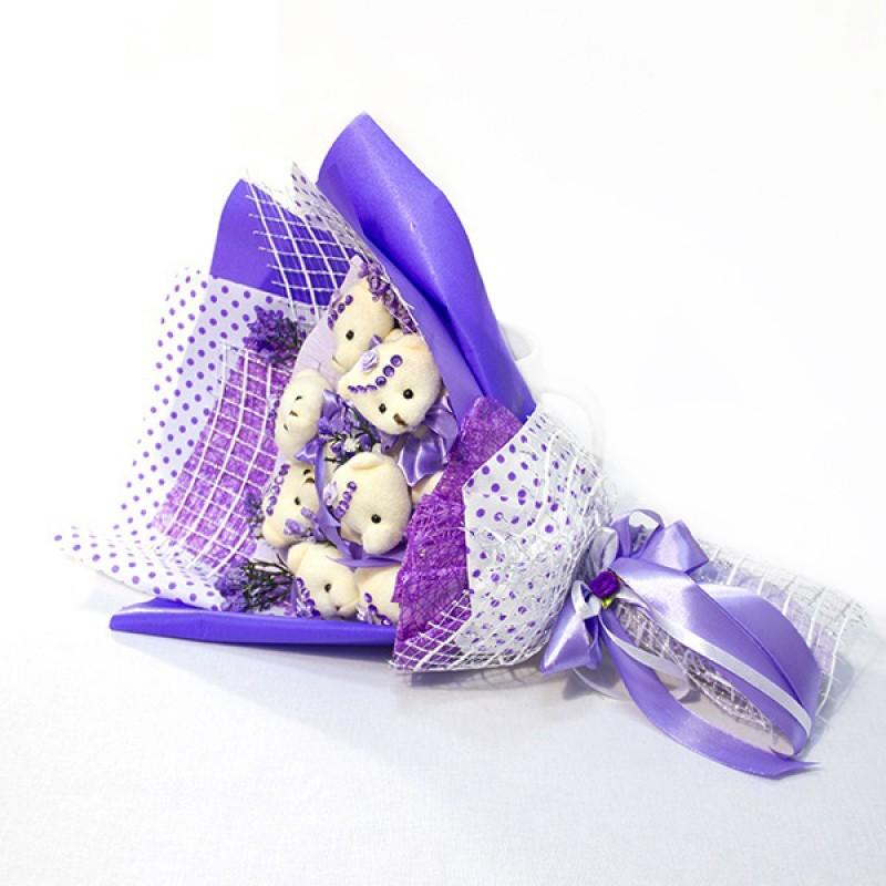 Букет из игрушек Мишки 7 конверт сиреневый