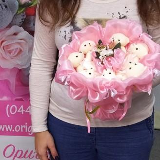 Букет из игрушек Мишки 7 розовый