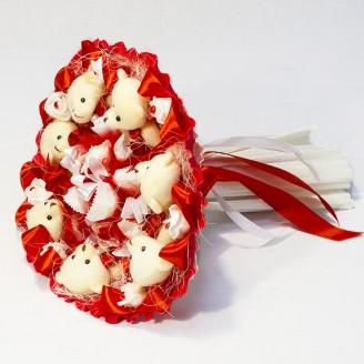 Букет из игрушек Мишки 7 с рафаэлло