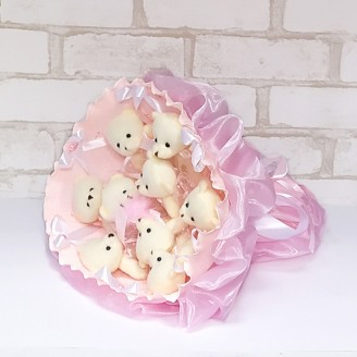 Букет из игрушек Мишки 9 нежно-розовый