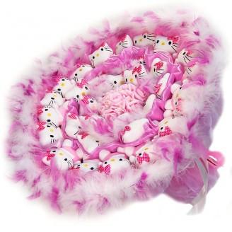 Букет из игрушек Котики 31 в розовом