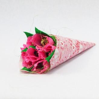 Букет из конфет Тюльпаны розовые 7