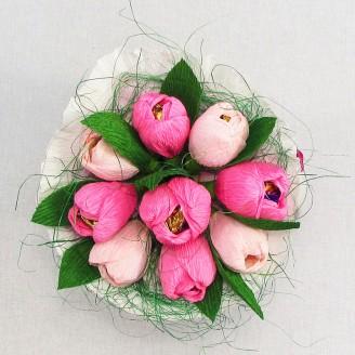 Букет из конфет Тюльпаны 9 нежно-розовый