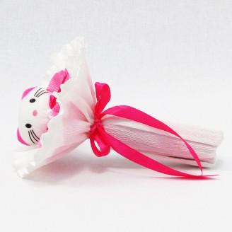 Букет из игрушек Котик розовый круглый
