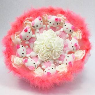 Букет из игрушек Котики 9 нежно-розовый