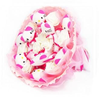 Букет из игрушек Котики 9 с розами нежно-розовый