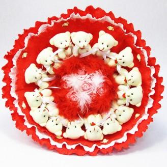 Букет из игрушек Мишки 15 красный