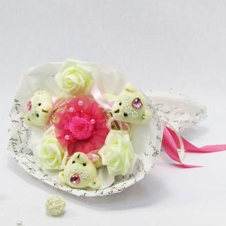 Букет из игрушек Мишки 3 розовые в белом Крафт