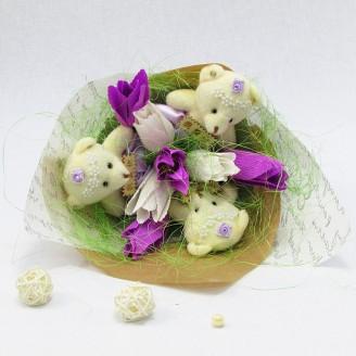 Букет из игрушек Мишки 3 с тюльпанами Крафт