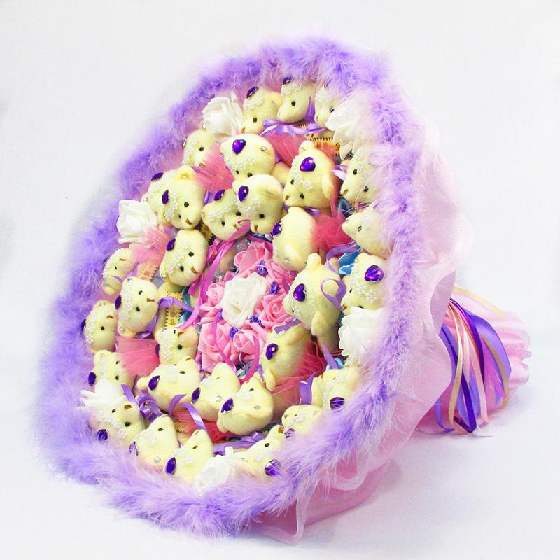 Букет из игрушек Мишки 31 розово-фиолетовый