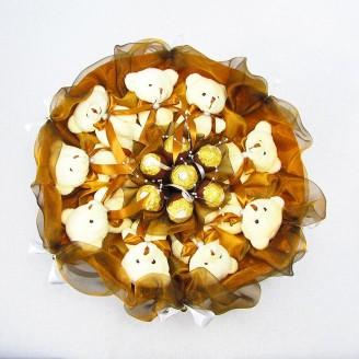 Букет з іграшок Ведмедики 9 золотисто-коричневий з Ферреро роше
