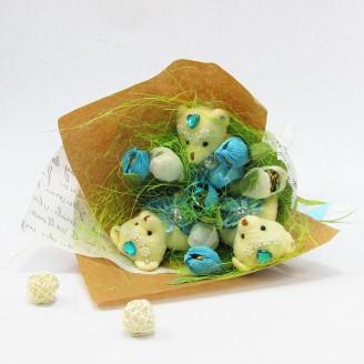 Букет из игрушек Мишки с подснежниками Крафт