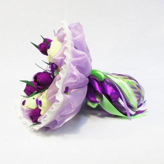 Букет из игрушек Мишки в крокусах фиолетовый