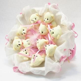 Букет из игрушек Мишки 11 бело-розовый зефир