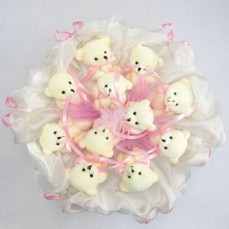 Букет з іграшок Ведмедики 11 біло-рожевий зефір
