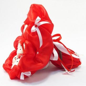 Букет из игрушек Мишки 11 красный